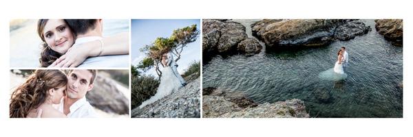 Séance Trash The Dress d'un couple de mariés dans l'eau